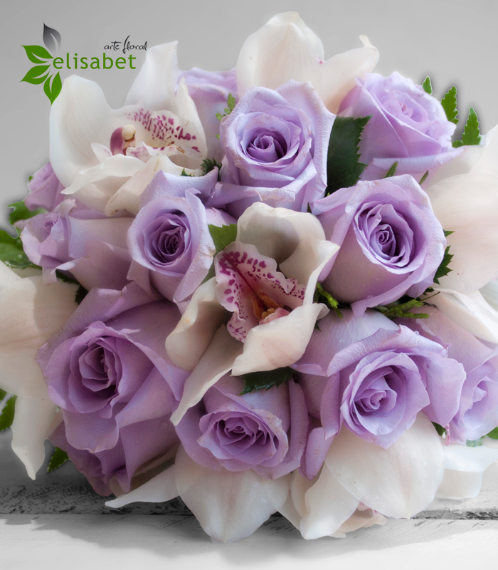 Ramos De Novia De Flores Naturales De Rosas Malva Y Orquideas
