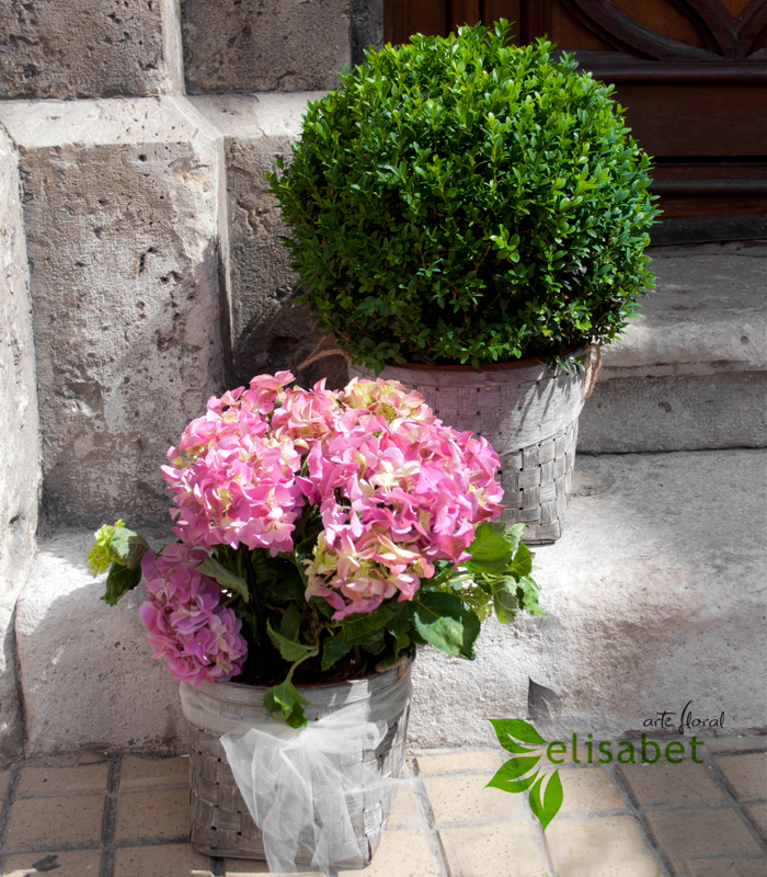 Decoraci n flores boda con hortensias for Adornos para plantas con llantas