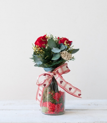 Botella decorada con rosas