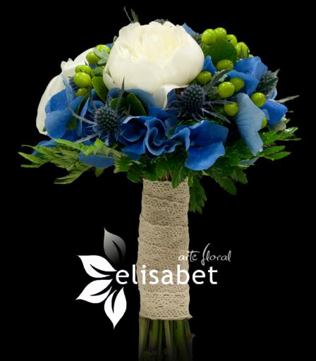 Hortensia azul y Peonia